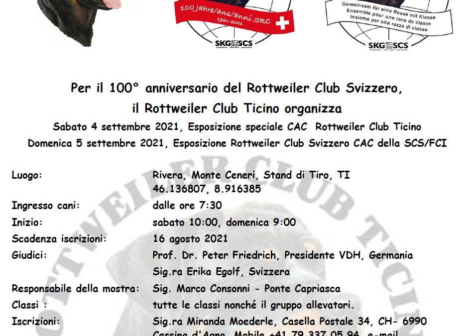 Rottweiler Club Svizzero – 100° anniversario (Sabato 4 e Domenica 5 settembre 2021)